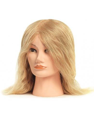 Training head with natural, medium hair