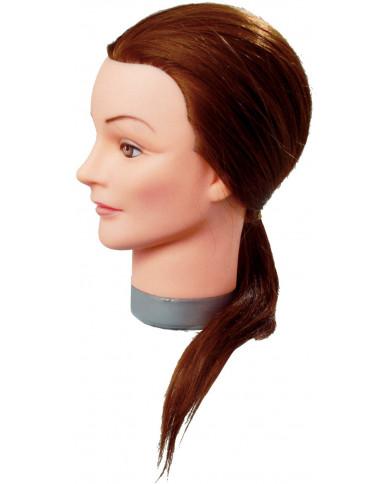 Efalock Thea practice head with medium long hair