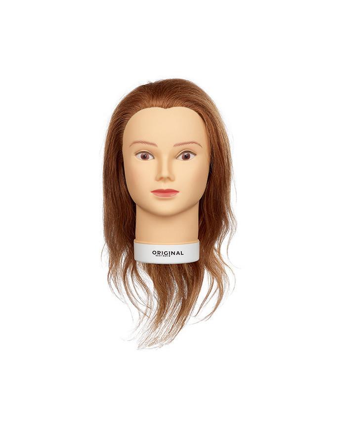 Efalock Elvira practice head with medium length natural hair