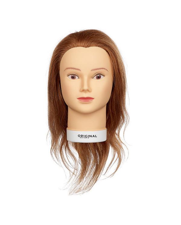 Original Isaline practice head with medium length natural hair